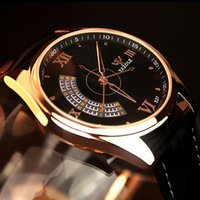 YAZOLE Men' s Fashion Sport Stainless Steel Case Leather...