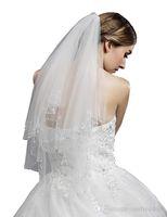 Recién en stock Velo de novia de borde de tul con cuentas de 2 niveles para mujer para vestido de novia 11053