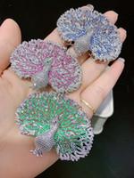 مجهر عالي المستوى من الدرجة الثالثة ذو لون مجهر زركون طاووس ثنائي ملحقات clasp مجوهرات الموضة
