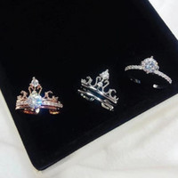 Crown double layer combination ring female set with diamond opening can freely adjust simple temperament set ring