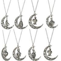 Großhandels-Wunsch-Perlen-Cages Medaillon Halskette natürliche Frischwasserperlen Oyster-Anhänger (ohne Perle Canned) Hohl Schildkröte Mond Art-Halskette