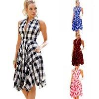 Kleider lässig Halfter gefaltete ärmellose asymmetrische Hemdkleider Mode Frauen Kleidung Plaid frauen desigenr