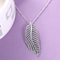 Легкое ожерелье пера кулона с CZ Алмазного стерлингового серебром 925 для Pandora ювелирных изделий с ожерельем коробки темперамента банкетной Женского