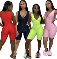 Vente en gros Femmes Fitness Combinaisons Rompers Yoga Pantalon Été Sans manches Zipper Turtleneck Skinny Slim Femme Casual Body Outfits 869-1