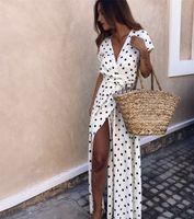 Sommer-Damen Beachwears mit Schärpen beiläufige Kleider Feste Tupfen-tiefe V weiblich Split kurzen Hülsen-Frauen-Kleider