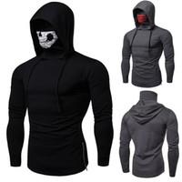 Maschera degli uomini del cranio di modo incappucciato maglione del pullover con cappuccio Felpa Jumper Tops