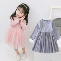 Knit Tulle Patwork Baby Girl Dress 2019 Spring Princess Dress For Toddler Bow Pink Grey Yellow Autumn Fahshion Abbigliamento per bambini