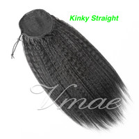 160g Indien Vierge humaine Ponytail naturel Noir Afro Kinky Curly Drawstring droite vague profonde pleine cuticules Alignés pour les extensions de cheveux