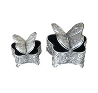 Elegante farfalla gioielli a forma di Storage Box Antique Metal Box Trinket con Rose incisioni d'epoca Keepsake Regali per le donne Ragazze
