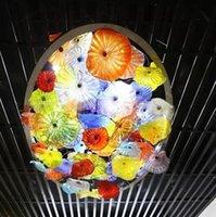 Дизайн-отель стеклянный потолок освещение итальянский выдувное стеклянные пластины свет искусства красочные муранского стекла цветок люстра для домашнего декора