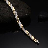 Forma-ealth Cadeia energia magnética Ion germânio Pulseira Homens Pulseras Hombre link pulseira de aço inoxidável Bangle Mulheres Homens S915