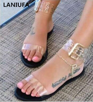 summer Casual flats women sandals transparent flats Gladiato...