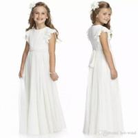 2020 싼 상아 크루 넥 시폰 긴 꽃 여자 드레스 주름을주는 첫 번째 친교 아이들 공식 착용 생일 가운 MC1547