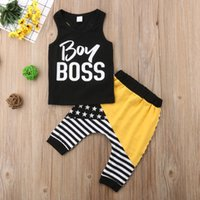 Kids Baby Boys Outfits Clothes Vest Tops + Striped Pants Trou...