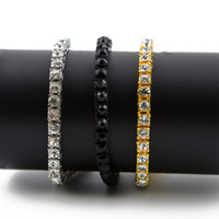 Men Hip Hop Iced Out Bracelet Shining 1 Row 5MM 8MM Round Cu...
