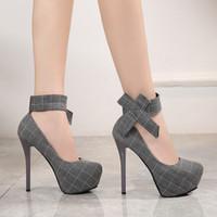 Sıcak Satış-Kadın Ayak Bileği Kayışı Stiletto Yüksek Topuk Platformu Ayakkabı Yuvarlak Ayak Papyon Moda Seksi Bayan Yüksek Topuklu Düğün Ayakkabıları Kadın Parti Ayakkabı