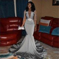 Sexy Grey Satin Mermaid Prom Vestidos longa e profunda V Neck frisado borla Trem da varredura Formal Party Dress Evening vestidos para meninas pretas ogstuff