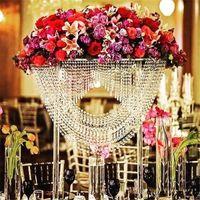 Brilhante Oval Alto acrílico cristal da tabela do casamento da peça central / Pilar de flor Stand / bolo para o casamento decoração / casamento