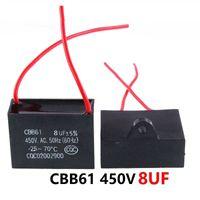 CBB61 450VAC 8UF ventilador condensador de arranque longitud de cable de 10 cm con la línea de