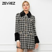 Autumn Women Wool Coat Fashion Splicing Fur Collar Coat Sing...