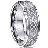 8 millimetri Laser maschile Celtic Knot spazzolato del carburo di tungsteno Wedding Band anelli Polished Passo Bordo Dimensioni 6-13