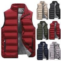 남성 겨울 솔리드 컬러 다운 재킷 조끼 바디 따뜻한 따뜻한 소매 스탠드 칼라 지퍼 자켓 코트 블랙 레드 카키