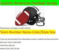 Custom American Football Jerseys Todos 32 Equipos personalizados cosidos cosidos en cualquier nombre Cualquier número S-3XL MEZCLA PEDIDO HOMBRES PARA HOMBRES PARA MUJERES NIÑOS JUSTIA JUVENTUD