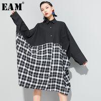 Рубашки для женщин Блузки [EAM] Женщины черный плед сплит большой размер блузки отворота с длинным рукавом свободная подходит рубашка мода прилив весна осень 2021 1R6
