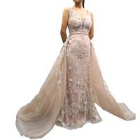 Elegante 2019 Sobre a saia Vestidos de Noite Decote Em V Backless Uma Linha de Tule Rendas Apliques de Sereia Vestidos de Noite Formal Ocasião Real imagem