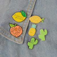 Citron pin pêche ananas émail cactus plante insigne Broche fruit Épinglette Denim sac Jean shirt Cartoon Bijoux cadeau pour les enfants 1pc 2020 nouvelle