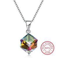 Kristalle von Swarovski Element Schmuck Cube Anhänger Halskette einfache modische Kragen S925 Sterling Silber edlen Schmuck für Frauen Mädchen Geschenk