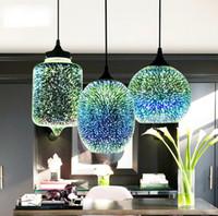 현대 3D 다채로운 북유럽 별이 빛나는 하늘 매달려 유리 그늘 펜던트 램프 조명 E27 LED 주방 레스토랑 거실 LLFA