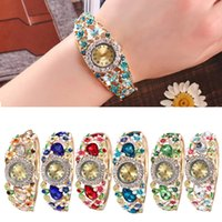 Vintage Bracelet watch Women Round Full Diamond Rhinstons An...
