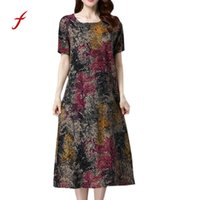 9e73a3d64be Wholesale plus size linen dresses online - Feitong Summer Women Dress Plus  Size Fashion Women Short