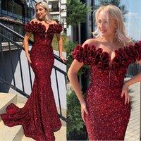 Вино красные вечерние платья с плечевой русалки блестки выпускных платья благородные формальные партии Bridesmaid Pageant Pageants халаты деви