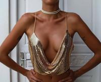 FQLWL acanalada metal atractivo Crop Top cuello en V profundo sin respaldo de las lentejuelas de la cadena cabestro sin mangas del chaleco del verano Tops Mujeres 2018 Beach Bralette