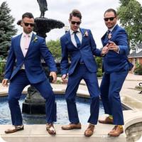 2020 New Blue Men Anzüge Hochzeit schwarzen Schal Revers nach Maß Bräutigam Smoking Groomsmen Prom Bester Mann-Abend-Partei Bridesgroom 2 Stück