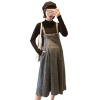 Vestido de maternidad para la madre 2019 Moda de gran tamaño suelta correa de lana vestido + suéter de manga larga dos juegos de mujeres embarazadas W607