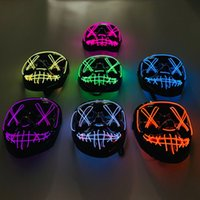 Halloween LED Light Up Zombie Mask Party Cosplay Mese Maschere aperte L'anno della purga Election Bagliore divertente nelle maschere horror scure