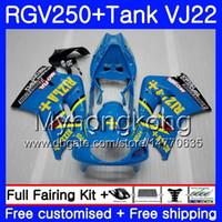 Cuerpo + tanque para SUZUKI VJ21 RGV250 88 89 90 91 92 93 307HM.4 RGV-250 VJ22 RGV 250 RIZLA marco azul 1988 1989 1990 1991 1992 1993 Kit carenado