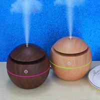 USB ahşap tahıl aromaterapi makinesi ultrasonik hava nemlendirici aromaterapi taşınabilir Yüz Vapur LED Esansiyel Yağlar Difüzör T2I5175