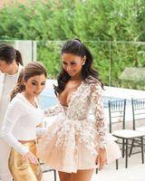 2020 nuevos vestidos de cóctel sexy profundos en V cuello champagne encaje flores largas mangas corta mini bola vestido celebridad fiesta fiesta casero vestidos caseros