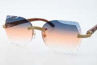 Toptan 3524012 Çerçevesiz Elmas Güneş Gözlüğü Unisex Ahşap Güneş Gözlüğü Kadın Oyma Ahşap Kırpma Lens Dekor Ahşap Çerçeve Gözlük C Dekorasyon
