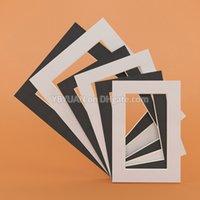 Negro Blanco Fotos / Mats Rectangulares Redondos 6/7/8 pulgadas cartón monta con textura de la superficie Para Portarretratos Passe-Partouts 18PCS / Lot