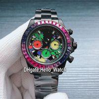 Nouveau gagnant 116500 116503 Automatique Aucune chronographe Montre Montre Glaffiti Rouge Jaune Rouge Vert Coloré Diamond Bezel PVD Bande en acier noir