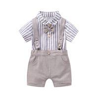 Baby Boys 1st Birthday Party Outfits Infant Kids Bows Tie Stripe Shirt Rompere + Pantaloncini per bretelle 2 PZ Set Ragazzi Abbigliamento performance F8381