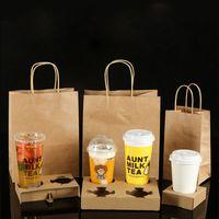 Tek Kullanımlık Kraft Kağıt Kahve Fincanı Tutucu Kolu Çanta Ile Seti Paket Servis Süt Çay Suyu Paketleme Araçları Away Içecekler Fincan Raf