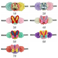 7 color Easter Bunny Sequin Bow Floral Headband Cute Baby Bo...