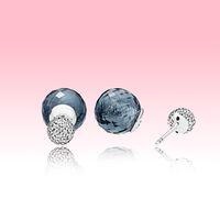 Blaue Wassertropfen Ohrstecker Hohe Qualität Kristallkugelohrring mit Original Box für Pandora 925 Sterling Silber Frauen Ohrring