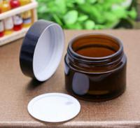 20g 30g 50g 100g Cam Amber Yüz Kremi Kavanoz Boş Cilt Bakımı Kremi Doldurulabilir Şişe Kozmetik Kaplar Siyah Kapak